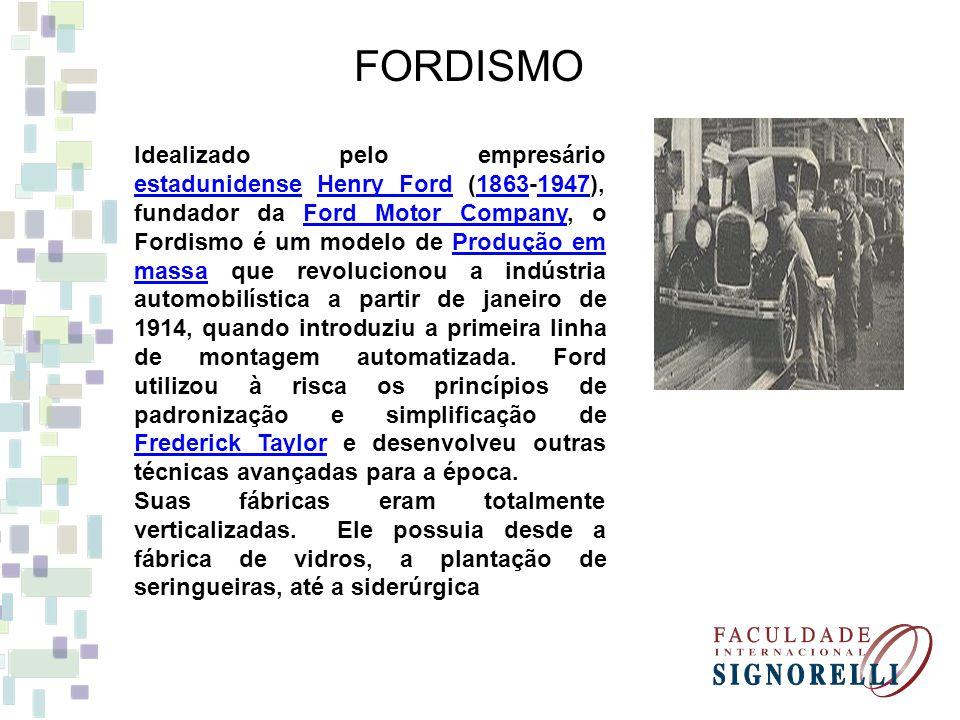 FORDISMO Idealizado pelo empresário estadunidense Henry Ford (1863-1947), fundador da Ford Motor Company, o Fordismo é um modelo de Produção em massa