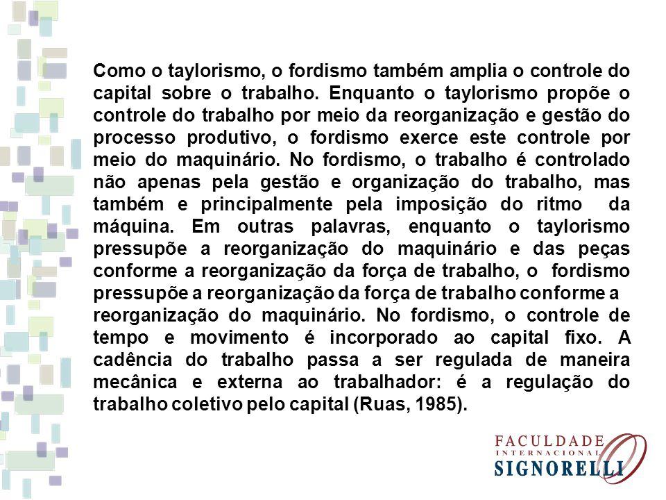 Como o taylorismo, o fordismo também amplia o controle do capital sobre o trabalho. Enquanto o taylorismo propõe o controle do trabalho por meio da re