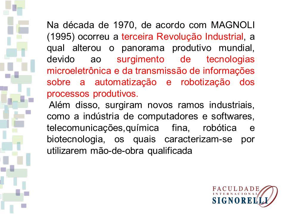 Na década de 1970, de acordo com MAGNOLI (1995) ocorreu a terceira Revolução Industrial, a qual alterou o panorama produtivo mundial, devido ao surgim
