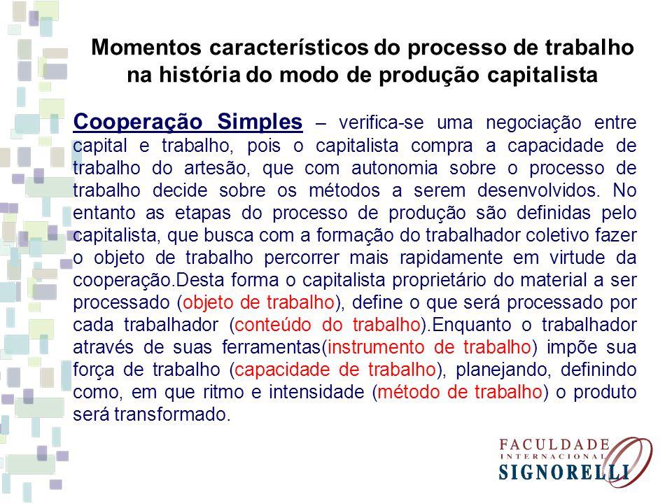 Momentos característicos do processo de trabalho na história do modo de produção capitalista Cooperação Simples – verifica-se uma negociação entre cap