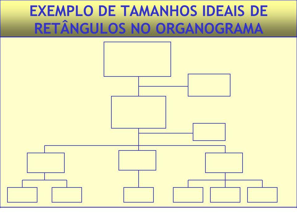 Administração – Princípios e Tendências – Francisco Lacombe – Editora Saraiva EXEMPLO DE TAMANHOS IDEAIS DE RETÂNGULOS NO ORGANOGRAMA