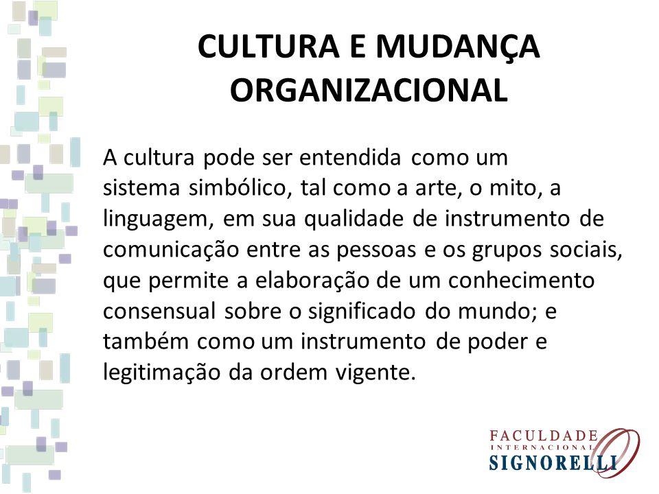 CULTURA E MUDANÇA ORGANIZACIONAL A cultura pode ser entendida como um sistema simbólico, tal como a arte, o mito, a linguagem, em sua qualidade de instrumento de comunicação entre as pessoas e os grupos sociais, que permite a elaboração de um conhecimento consensual sobre o significado do mundo; e também como um instrumento de poder e legitimação da ordem vigente.