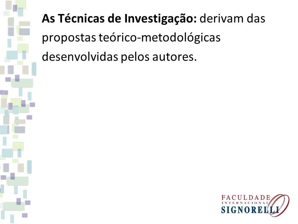 As Técnicas de Investigação: derivam das propostas teórico-metodológicas desenvolvidas pelos autores.