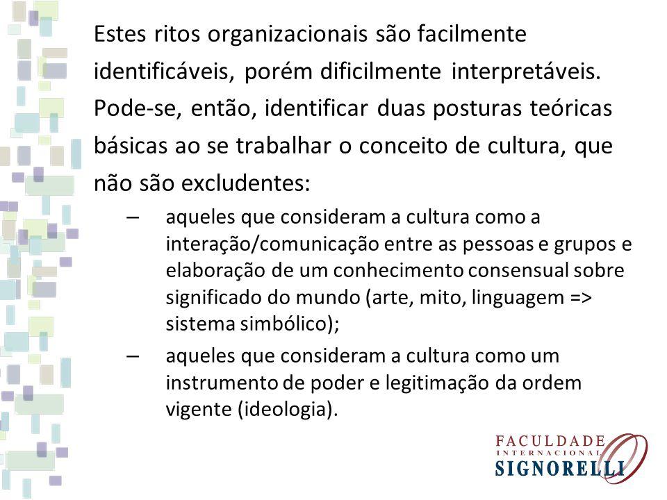 Estes ritos organizacionais são facilmente identificáveis, porém dificilmente interpretáveis.