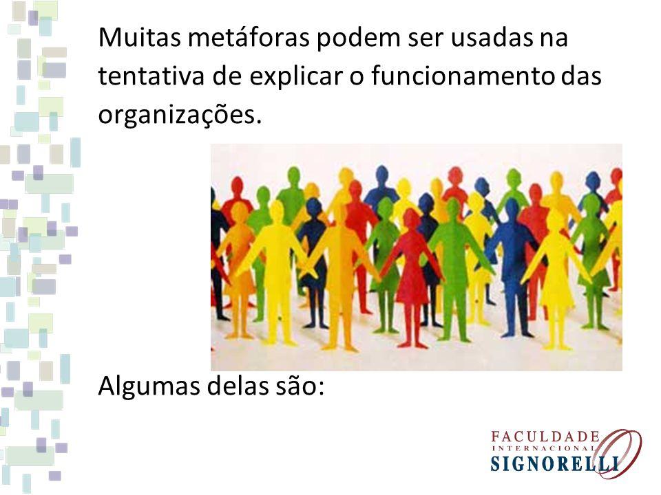 Muitas metáforas podem ser usadas na tentativa de explicar o funcionamento das organizações.