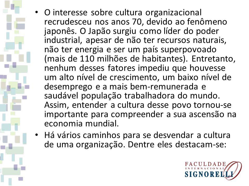 O interesse sobre cultura organizacional recrudesceu nos anos 70, devido ao fenômeno japonês.