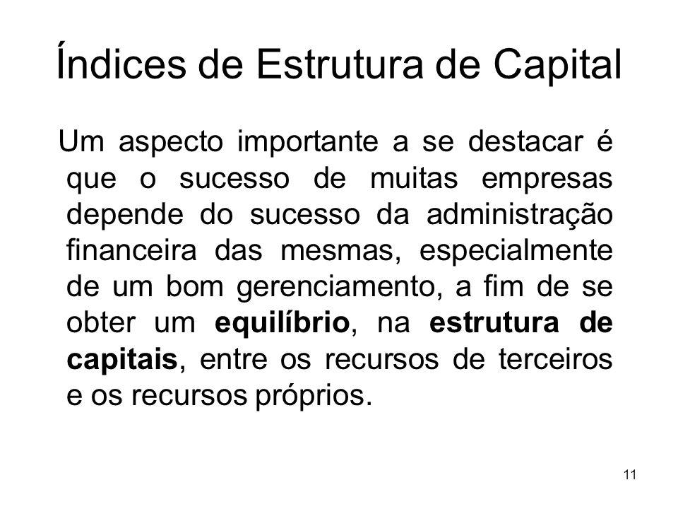 Índices de Estrutura de Capital Um aspecto importante a se destacar é que o sucesso de muitas empresas depende do sucesso da administração financeira