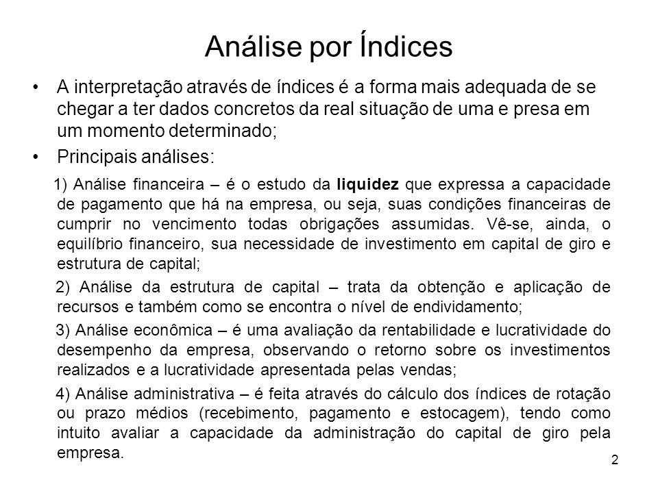 Análise por Índices A interpretação através de índices é a forma mais adequada de se chegar a ter dados concretos da real situação de uma e presa em u