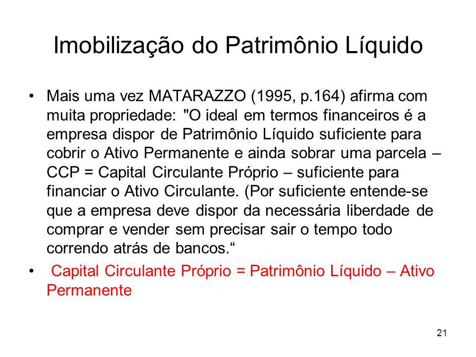 Imobilização do Patrimônio Líquido Mais uma vez MATARAZZO (1995, p.164) afirma com muita propriedade: