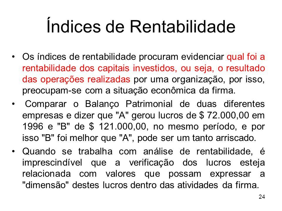 Índices de Rentabilidade Os índices de rentabilidade procuram evidenciar qual foi a rentabilidade dos capitais investidos, ou seja, o resultado das op
