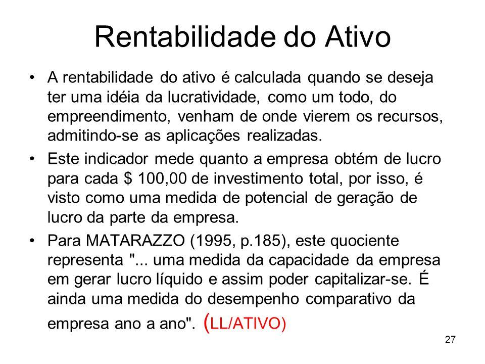 Rentabilidade do Ativo A rentabilidade do ativo é calculada quando se deseja ter uma idéia da lucratividade, como um todo, do empreendimento, venham d