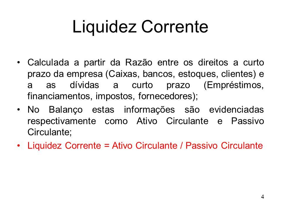 Liquidez Corrente Calculada a partir da Razão entre os direitos a curto prazo da empresa (Caixas, bancos, estoques, clientes) e a as dívidas a curto p