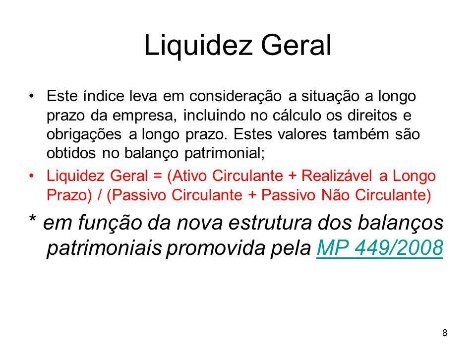 Liquidez Geral Este índice leva em consideração a situação a longo prazo da empresa, incluindo no cálculo os direitos e obrigações a longo prazo. Este