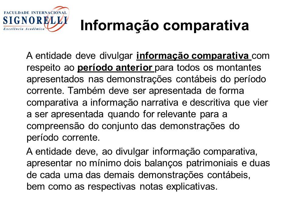 Informação comparativa A entidade deve divulgar informação comparativa com respeito ao período anterior para todos os montantes apresentados nas demonstrações contábeis do período corrente.
