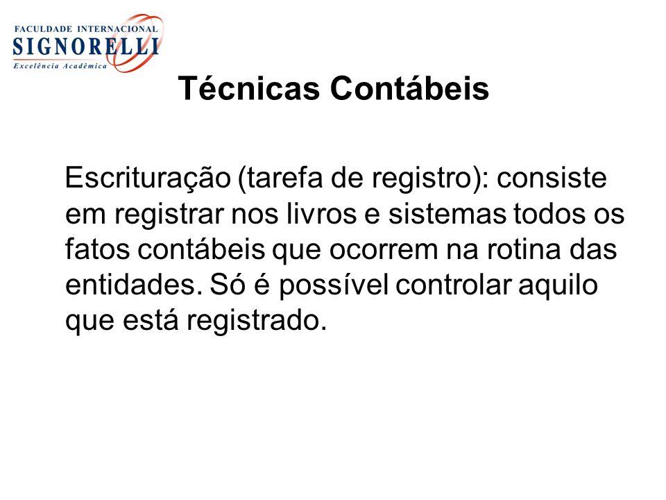 Técnicas Contábeis Escrituração (tarefa de registro): consiste em registrar nos livros e sistemas todos os fatos contábeis que ocorrem na rotina das entidades.
