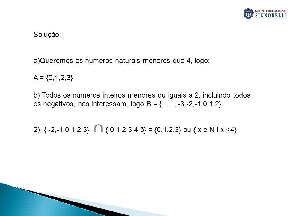 Solução: a)Queremos os números naturais menores que 4, logo: A = {0,1,2,3} b) Todos os números inteiros menores ou iguais a 2, incluindo todos os nega