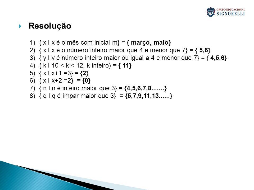 Resolução 1){ x I x é o mês com inicial m} = { março, maio} 2){ x I x é o número inteiro maior que 4 e menor que 7} = { 5,6} 3){ y I y é número inteir