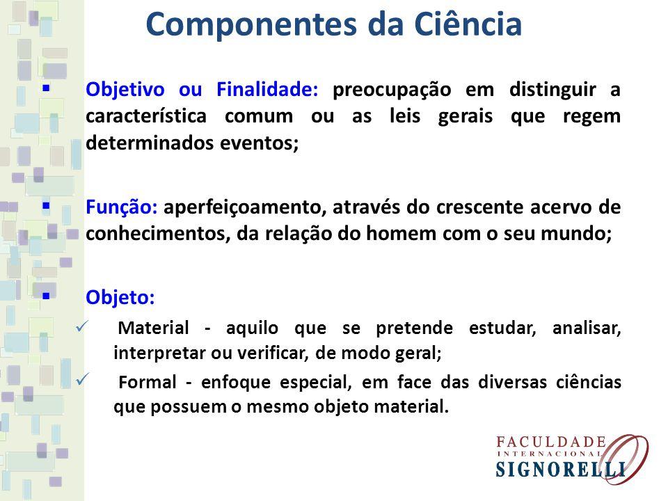 Componentes da Ciência Objetivo ou Finalidade: preocupação em distinguir a característica comum ou as leis gerais que regem determinados eventos; Funç