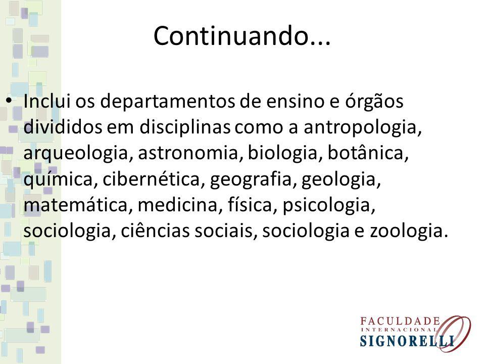 Continuando... Inclui os departamentos de ensino e órgãos divididos em disciplinas como a antropologia, arqueologia, astronomia, biologia, botânica, q