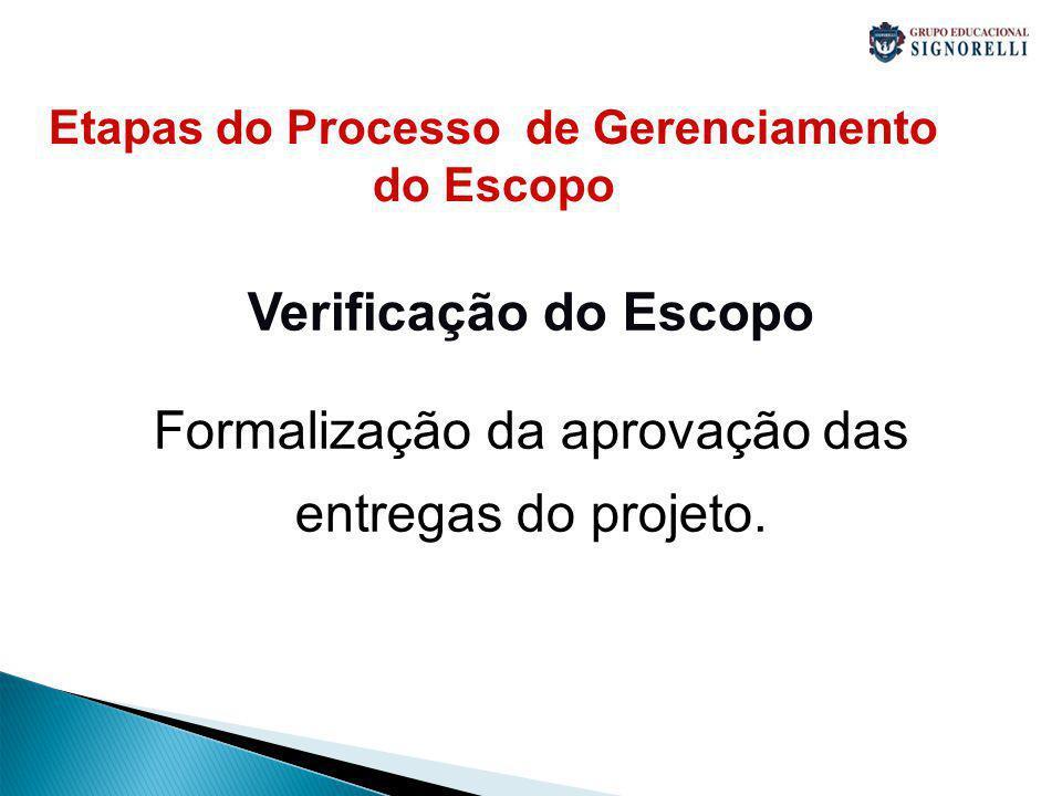 Etapas do Processo de Gerenciamento do Escopo Verificação do Escopo Formalização da aprovação das entregas do projeto.