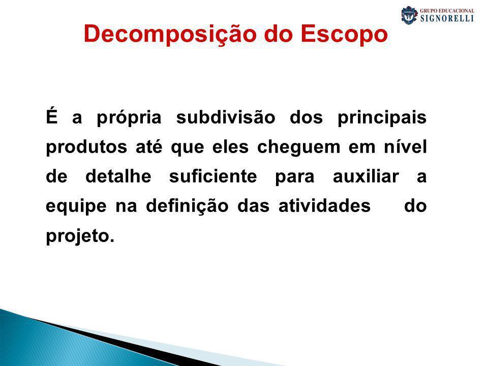 Decomposição do Escopo É a própria subdivisão dos principais produtos até que eles cheguem em nível de detalhe suficiente para auxiliar a equipe na definição das atividades do projeto.