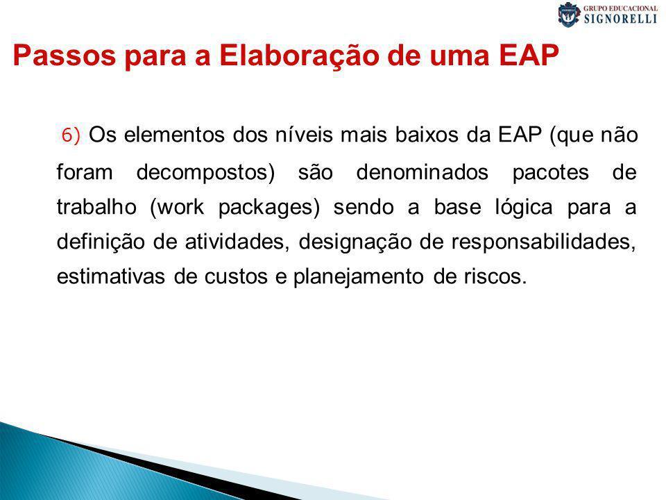6) Os elementos dos níveis mais baixos da EAP (que não foram decompostos) são denominados pacotes de trabalho (work packages) sendo a base lógica para a definição de atividades, designação de responsabilidades, estimativas de custos e planejamento de riscos.