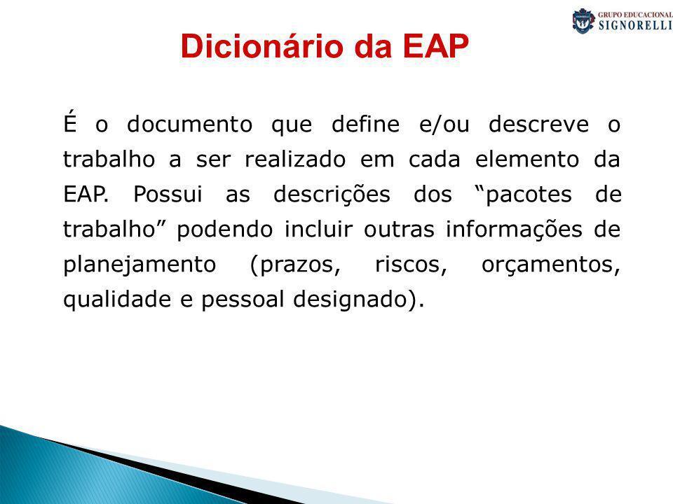 Dicionário da EAP É o documento que define e/ou descreve o trabalho a ser realizado em cada elemento da EAP.
