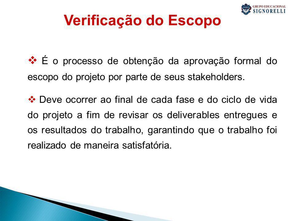 Verificação do Escopo É o processo de obtenção da aprovação formal do escopo do projeto por parte de seus stakeholders.