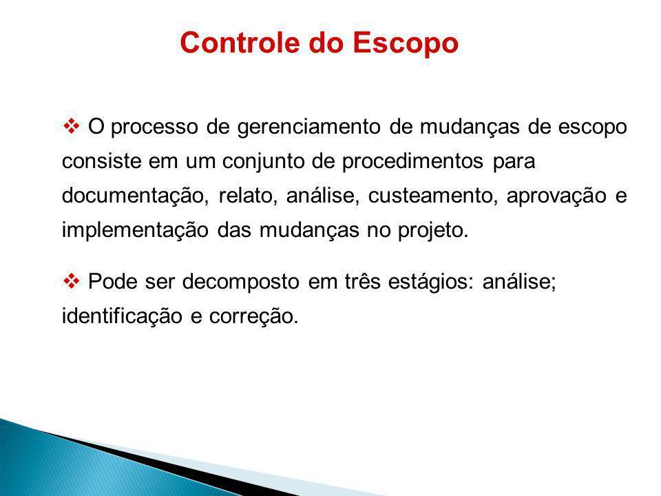 Controle do Escopo O processo de gerenciamento de mudanças de escopo consiste em um conjunto de procedimentos para documentação, relato, análise, custeamento, aprovação e implementação das mudanças no projeto.