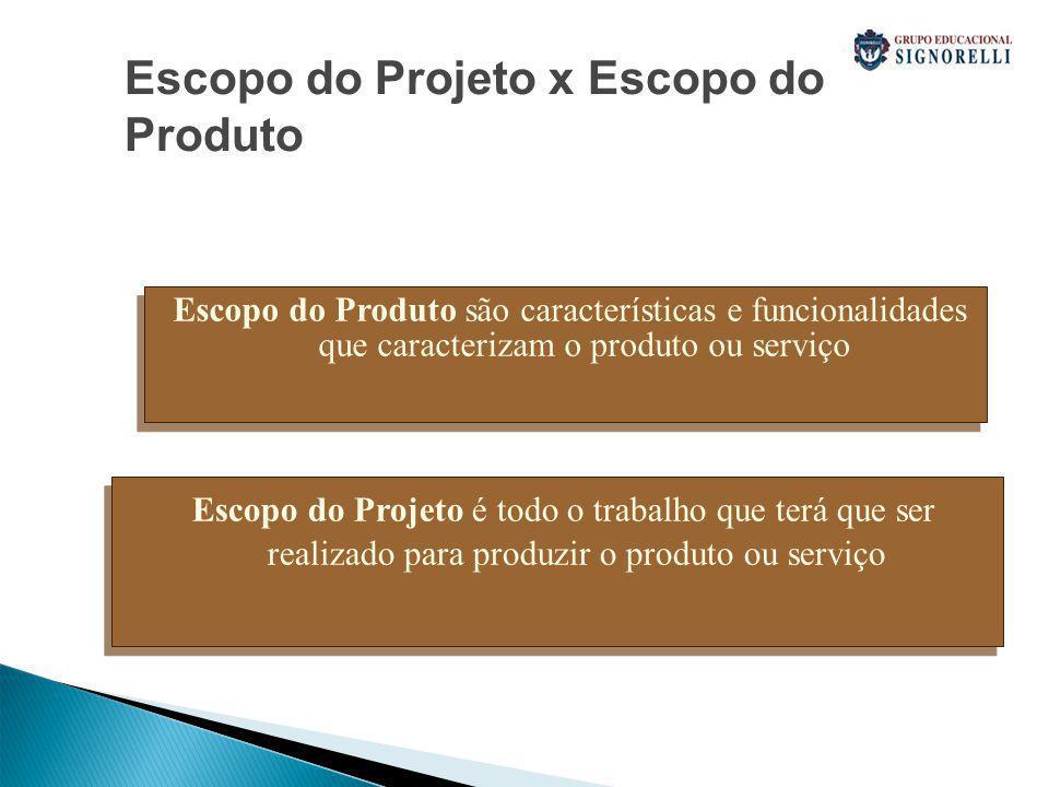 Escopo do Projeto x Escopo do Produto Escopo do Produto são características e funcionalidades que caracterizam o produto ou serviço Escopo do Projeto é todo o trabalho que terá que ser realizado para produzir o produto ou serviço