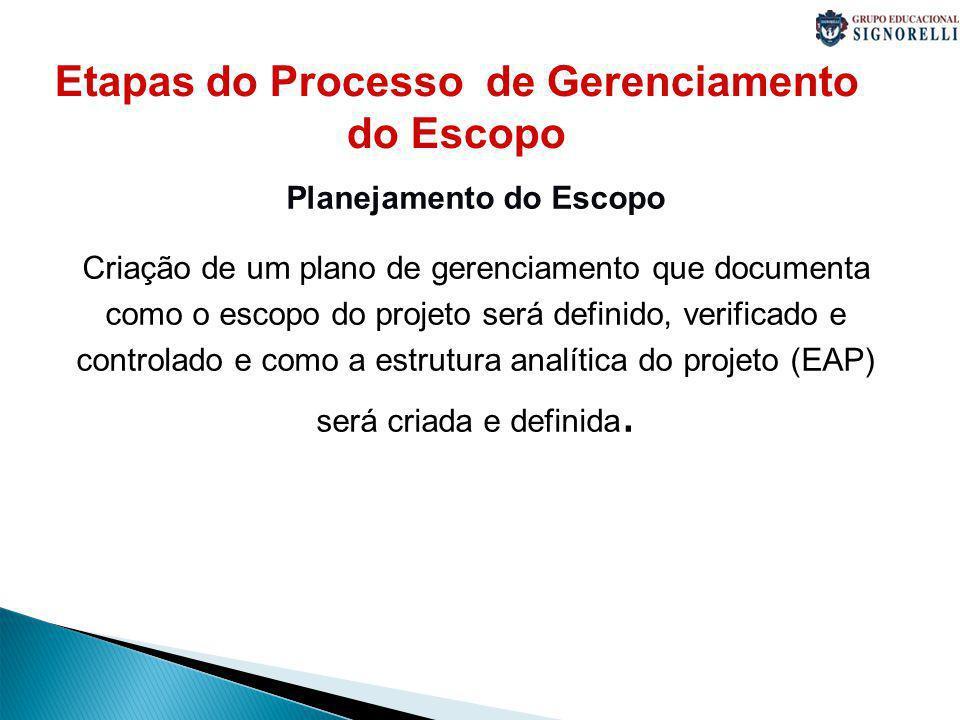 Etapas do Processo de Gerenciamento do Escopo Planejamento do Escopo Criação de um plano de gerenciamento que documenta como o escopo do projeto será definido, verificado e controlado e como a estrutura analítica do projeto (EAP) será criada e definida.