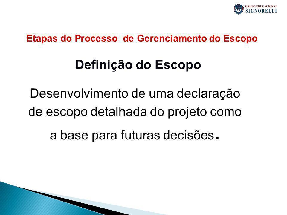 Etapas do Processo de Gerenciamento do Escopo Definição do Escopo Desenvolvimento de uma declaração de escopo detalhada do projeto como a base para futuras decisões.