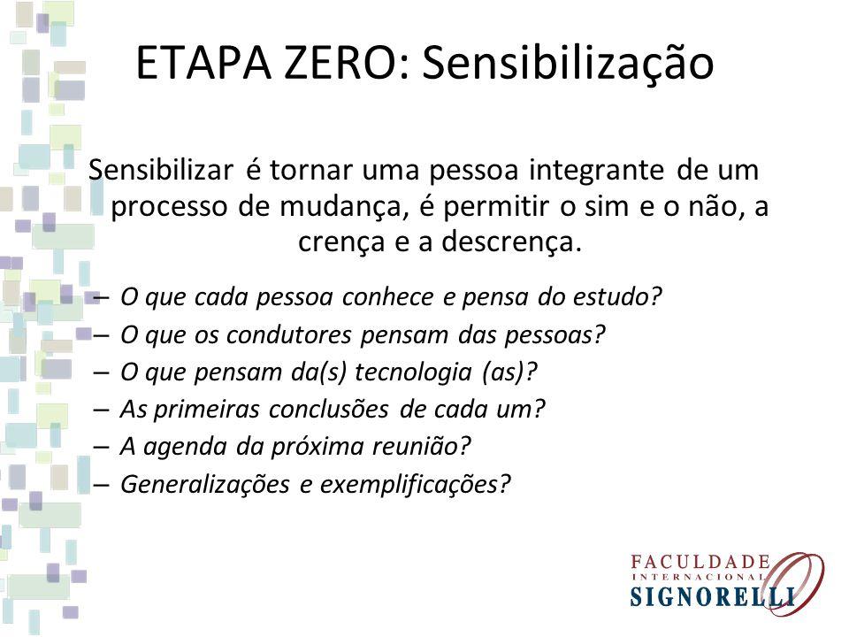 ETAPA ZERO: Sensibilização Sensibilizar é tornar uma pessoa integrante de um processo de mudança, é permitir o sim e o não, a crença e a descrença. –