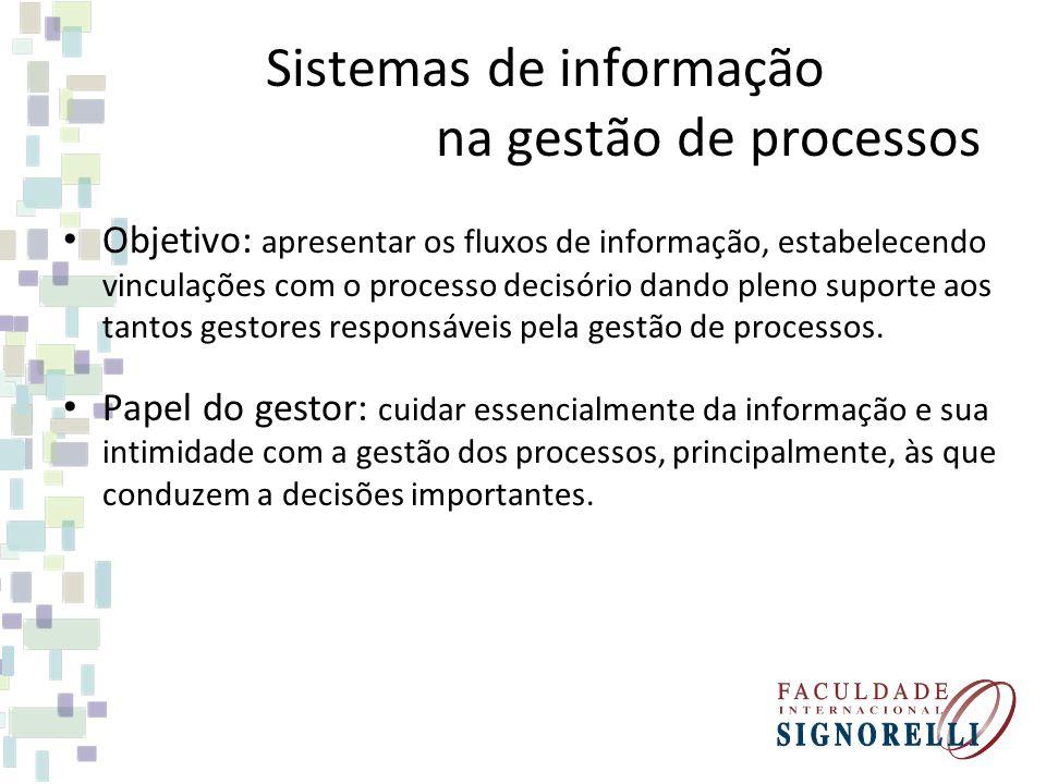 Sistemas de informação na gestão de processos Objetivo: apresentar os fluxos de informação, estabelecendo vinculações com o processo decisório dando p