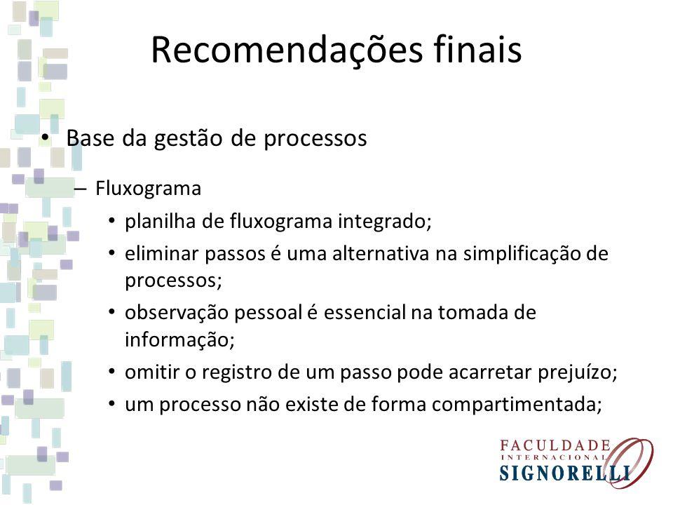 Recomendações finais Base da gestão de processos – Fluxograma planilha de fluxograma integrado; eliminar passos é uma alternativa na simplificação de