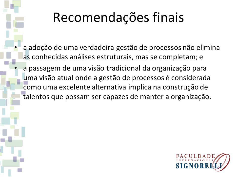 Recomendações finais a adoção de uma verdadeira gestão de processos não elimina as conhecidas análises estruturais, mas se completam; e a passagem de