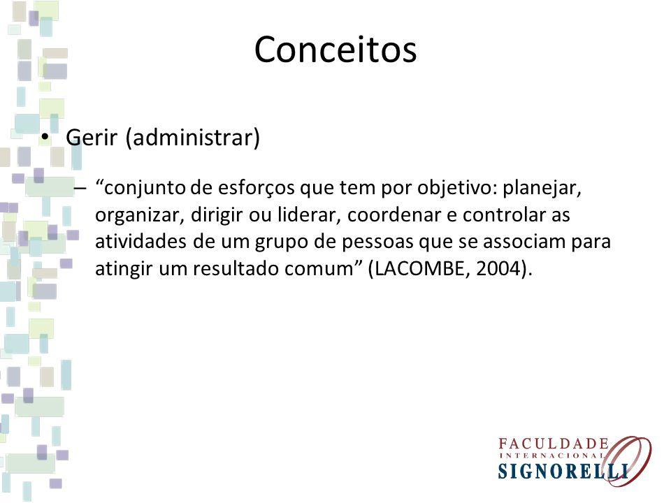 Conceitos Gerir (administrar) – conjunto de esforços que tem por objetivo: planejar, organizar, dirigir ou liderar, coordenar e controlar as atividade