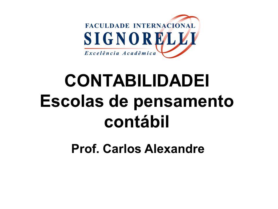 CONTABILIDADEI Escolas de pensamento contábil Prof. Carlos Alexandre