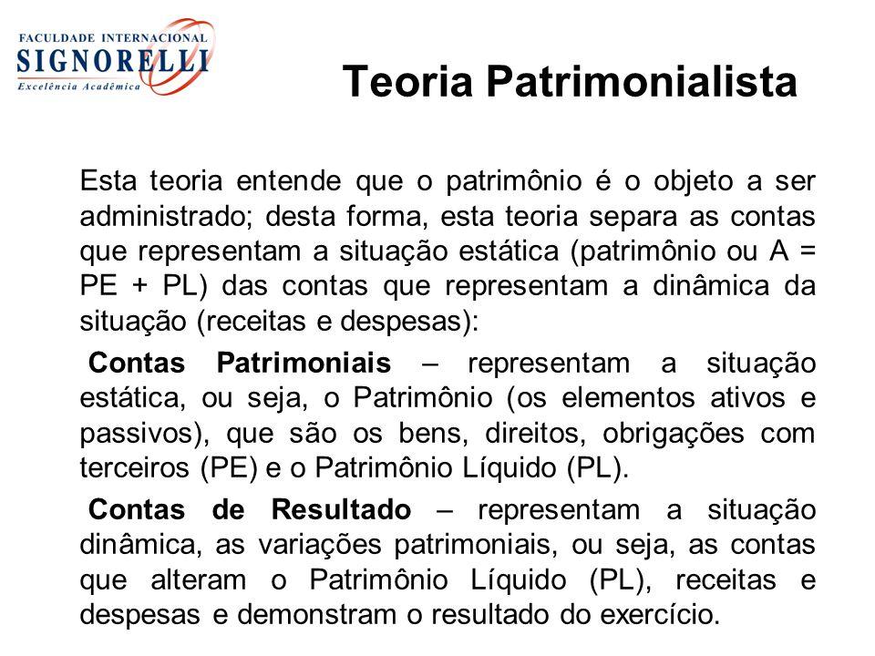 Teoria Patrimonialista Esta teoria entende que o patrimônio é o objeto a ser administrado; desta forma, esta teoria separa as contas que representam a