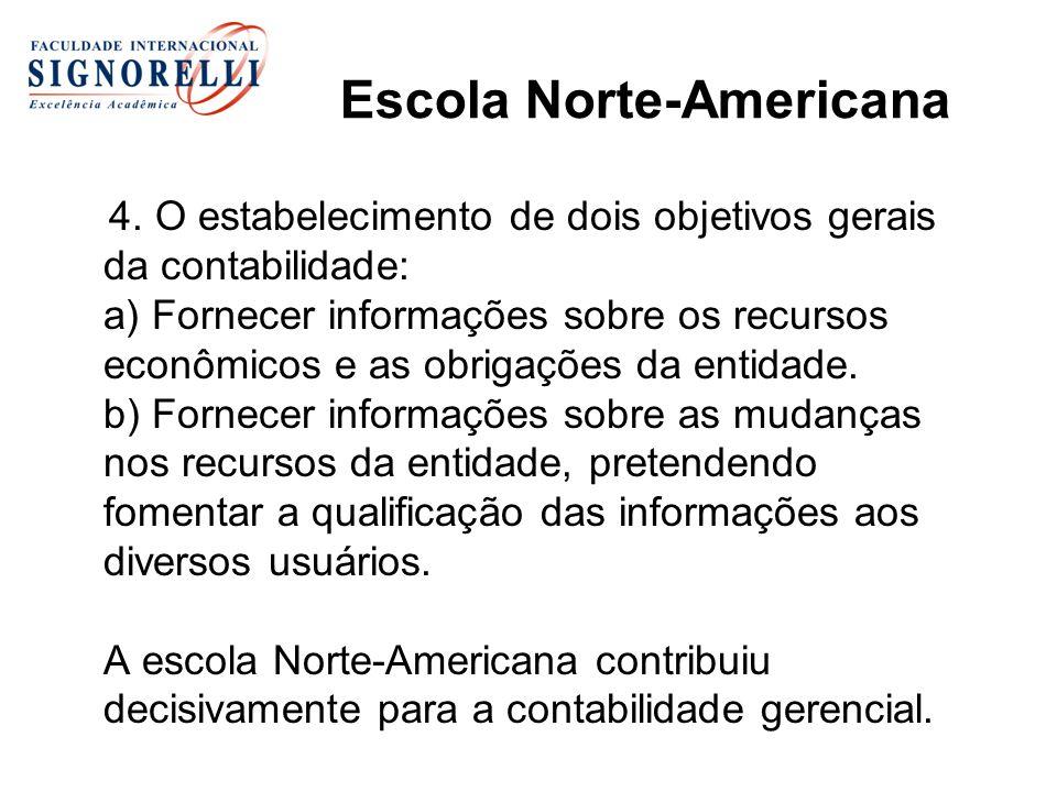 Escola Norte-Americana Características: Ênfase no usuário da informação; Contabilidade aplicada enfoque técnico; desenvolvimento da contabilidade gerencial; Valorização da auditoria.