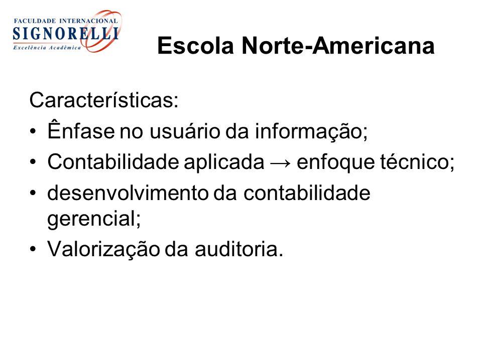 Escola Norte-Americana Características: Ênfase no usuário da informação; Contabilidade aplicada enfoque técnico; desenvolvimento da contabilidade gere