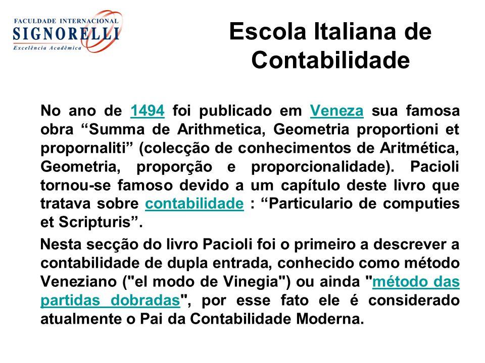 Escola Italiana de Contabilidade No ano de 1494 foi publicado em Veneza sua famosa obra Summa de Arithmetica, Geometria proportioni et propornaliti (c