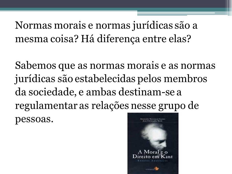Normas morais e normas jurídicas são a mesma coisa? Há diferença entre elas? Sabemos que as normas morais e as normas jurídicas são estabelecidas pelo