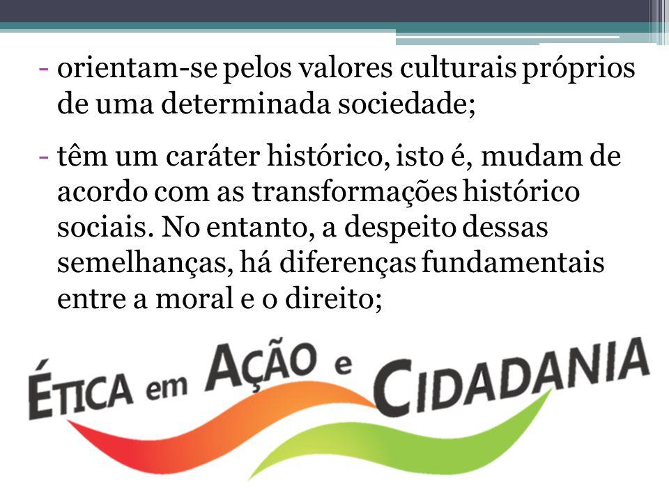 -orientam-se pelos valores culturais próprios de uma determinada sociedade; -têm um caráter histórico, isto é, mudam de acordo com as transformações h