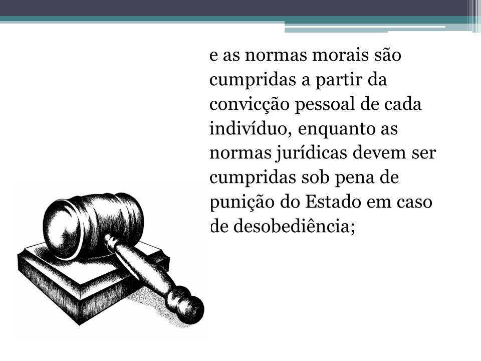 e as normas morais são cumpridas a partir da convicção pessoal de cada indivíduo, enquanto as normas jurídicas devem ser cumpridas sob pena de punição