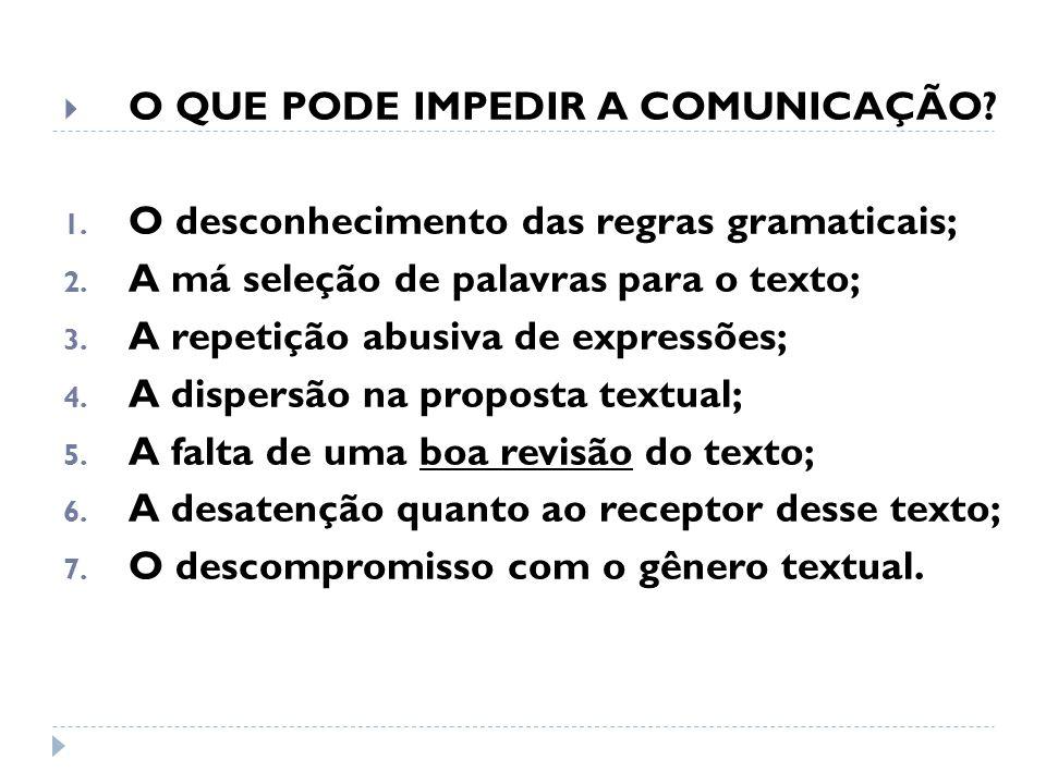 O QUE PODE IMPEDIR A COMUNICAÇÃO? 1. O desconhecimento das regras gramaticais; 2. A má seleção de palavras para o texto; 3. A repetição abusiva de exp
