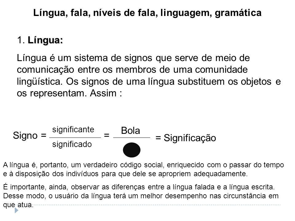 Língua, fala, níveis de fala, linguagem, gramática Antes de iniciarmos uma revisão básica da gramática de língua portuguesa, é útil e necessário escla