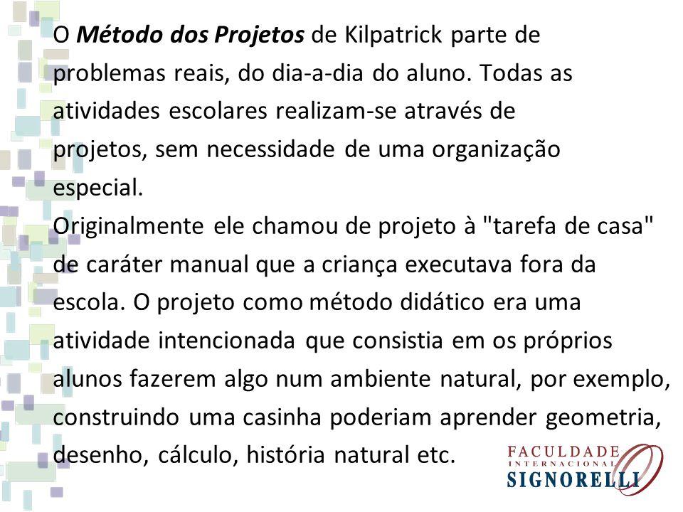 O Método dos Projetos de Kilpatrick parte de problemas reais, do dia-a-dia do aluno. Todas as atividades escolares realizam-se através de projetos, se