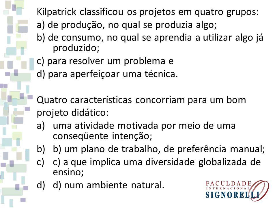 Kilpatrick classificou os projetos em quatro grupos: a) de produção, no qual se produzia algo; b) de consumo, no qual se aprendia a utilizar algo já p