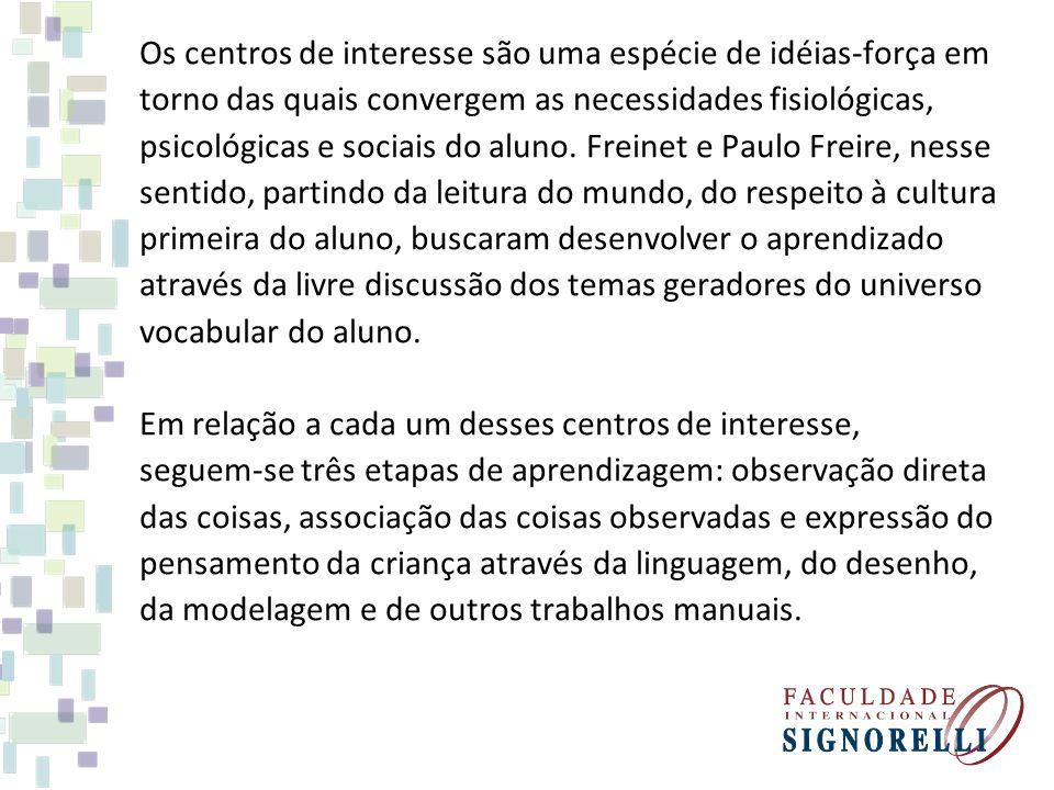 Os centros de interesse são uma espécie de idéias-força em torno das quais convergem as necessidades fisiológicas, psicológicas e sociais do aluno. Fr